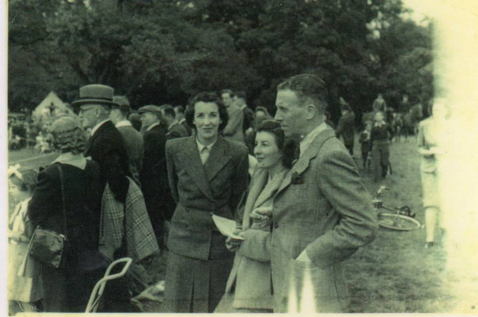 My mother and her sister at a fete in the grounds of Bradley Hall, 1947