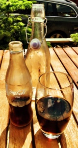 Diet Coke and some beautifully presented water.