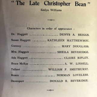 Cast for 'The Late Christopher Bean'