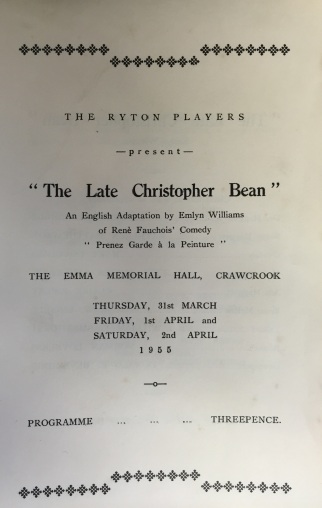 Programme 'The Late Christopher Bean'