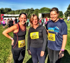 Before the start, Marie, Heather and Helen