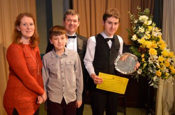 Most promising singer Ben Gardner with his family